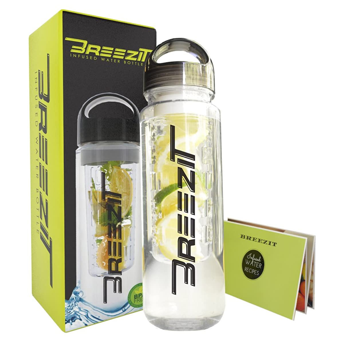 Breezit 24Oz Sports Water Bottle with Infusers-Multiple Colors-BPA Free Tritan Plastic-Dual Purpose Travel Bottles with Removable Infuser-Enjoy Infused Water with Included Fruit Infusion Recipe