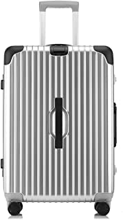 Unisex Suitcase,Lightweigh PC+ABS Hard Shell Carry On Cabin Hand Luggage with TSA Lock &360° Spinner Wheels,Silver,28inch