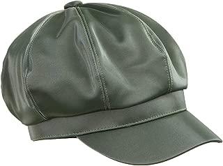 Sportmusies 8 Panels Newsboy Cap for Women,PU Leather Visor Gatsby Cabbie Beret Hat
