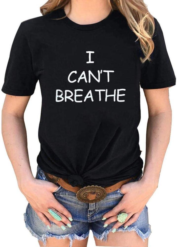 BINGFENG I Cant Breathe T-Shirt Girocollo Superiore Casuale di Stampata delle Donne Manica Corta Black-M