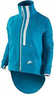 Nike Women's Tech Fleece Moto Cape Jacket-Turquoise/Volt-Medium