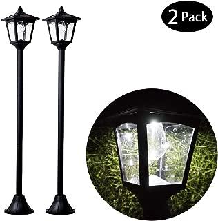 "Mini Solar Outdoor Lamp Post Lights, LED Street Lights Post for Patio Pathway Garden 39"" High, Black 2 Pack"