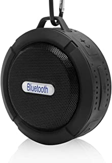 Mini Bluetooth Speaker Waterproof Shower Wireless 5W Driver Portable Speaker Car Hands Free and Music Outdoor Speaker Loud with TF Card Function for Echo Dot, iPhone, iPad, Samsung, tablet, BLACK