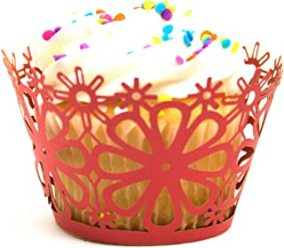 Linen and Bags 120 Piece Laser Cut Daisy Floral Decorative Cupcake Liners Party Cupcake Wrappers (Red)