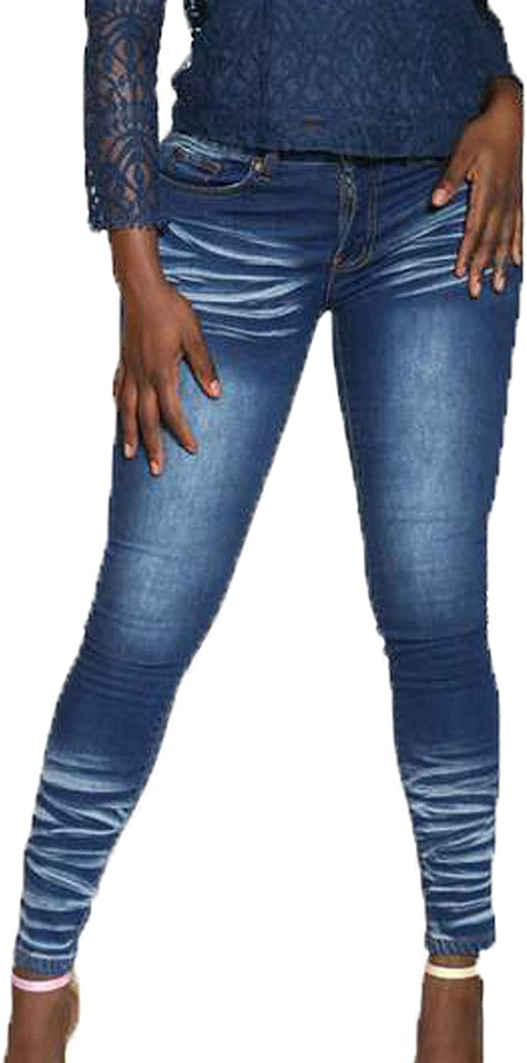 Jeans's for Women,Women's Classic Fashion Plus Size Slim Denim Low-Waisted Elastic Straight Ankle-Length Pants