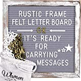 Whitewashed Rustic Wood Frame Gray Felt Letter Board 10x10 inch. Precut White & Gold Letters, Script Cursive Words. Wall & Tabletop Board Sign for Farmhouse Home Decor. Grey Felt Message Board