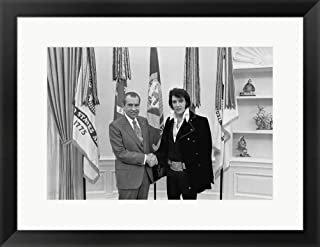 Elvis-Nixon by Marcus Jules Framed Art Print Wall Picture, Black Frame, 24 x 18 inches
