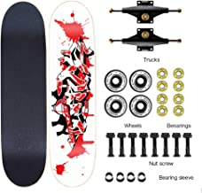 Easy to Navigate Skateboard Complete Skateboard for Beginners and Professionals 7-Layer Maple Double Kick Concave Deck Smooth 100A Reel ILQ-9 Bearings