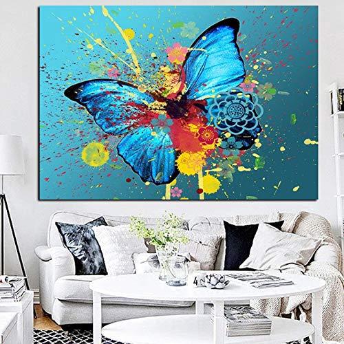Graffiti flatternder Schmetterling kreative Leinwand Ölgemälde abstrakte Pop-Art Wandplakat Wohnzimmer Dekoration rahmenlose Malerei 60X90CM
