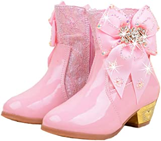 Fanessy niñas princesa botas de nieve botas de invierno para niños con forro cálido botas de goma para botas antideslizant...