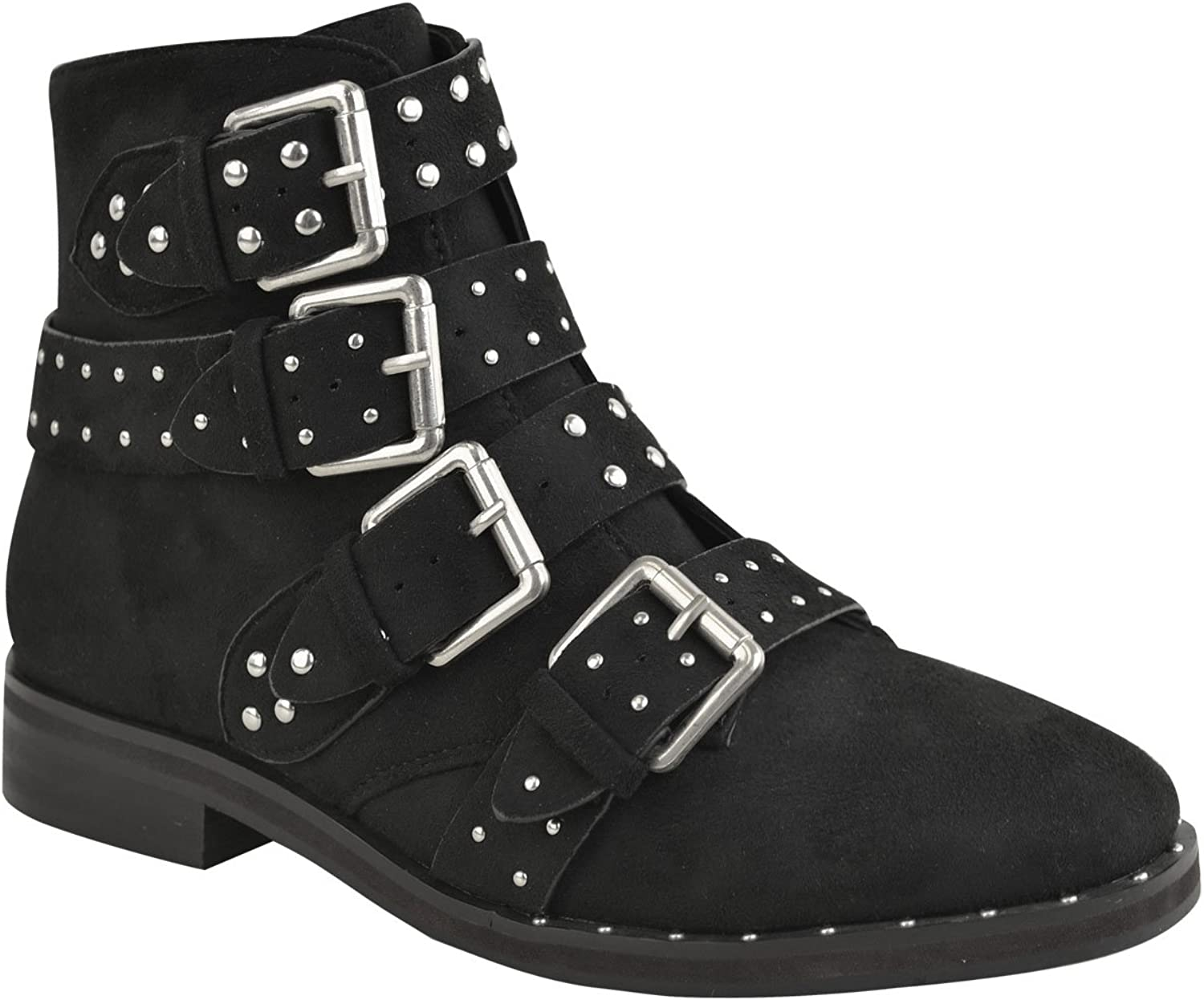 Fashion Thirsty Womens Silver Studded Buckle Strappy Biker Flat Ankle Boots Size