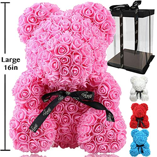 Rose Flower Bear - Trendiees Fully Assembled 16 inch Hugz Teddy Bear - Over 20 Dozen Artificial Flowers - Gift for Mothers Day, Valentines Day, Anniversary & Bridal Showers (Pink) - w/Clear Gift Box