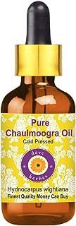 Deve Herbes Pure Chaulmoogra Oil (Hydnocarpus wightiana) with Glass Dropper 100% Natural Therapeutic Grade Cold Pressed 15ml (0.50 oz)