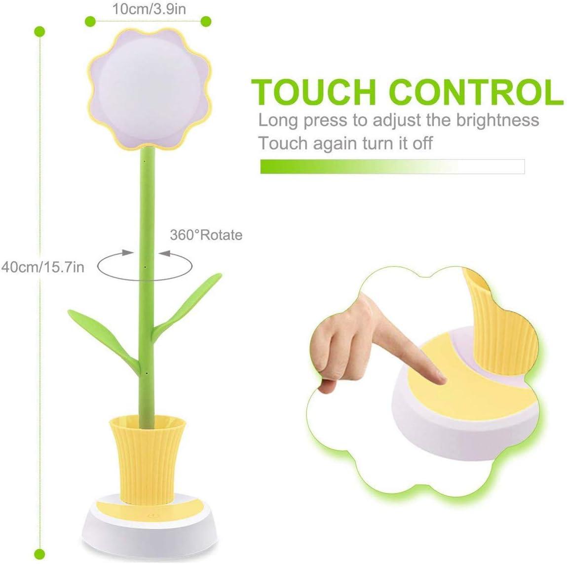 lampe de bureau rechargeable cr/éative LED Protection des yeux lampe de table /à capteur tactile lampe de chevet /à intensit/é variable avec porte-stylo Lampe de chevet enfant Jaune