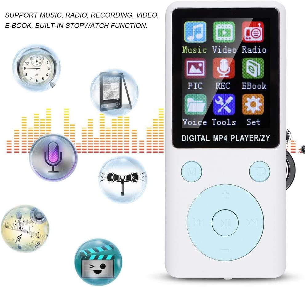 Rose Gold MP3 Players,Small 1.8 Inches Bluetooth MP3//MP4 Music Player with 4-6 h Playtime,Support Radio//Recording//Video//E-Book,32G Memory Card,Multiple Play Modes,for Boys//Girls