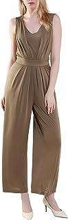 "Women's Jumpsuit""V"" Collar Sleeveless Loose Fashion Straight High Waist Pants"