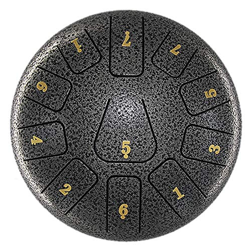 YHYGOO 8-Inch 11-Tone Steel Tongue Drum Percussion Instrument One-Piece Multifunctional Style with A Pair of Drumsticks and Drumstick Bags Graphite
