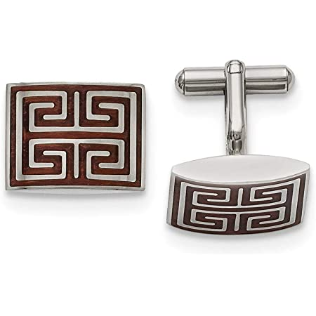 Saris and Things Stainless Steel Matte Black IP-Plated Cross Cuff Links