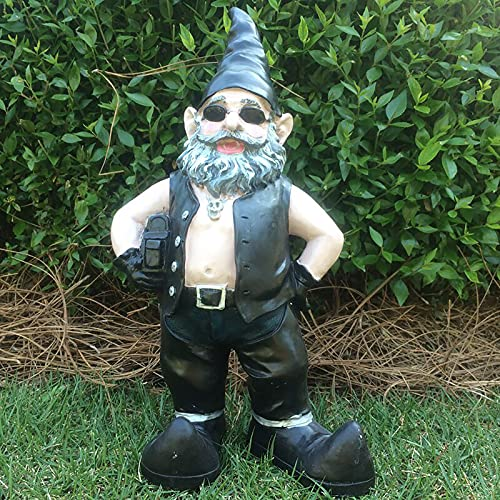 Yard Art Garden Figures Statues for Living Room Balcony,Resin Motorcycle Garden Gnome Art Sculptures Novelty Couple Decor Outdoor Figurines Lawn Decor,Biker Garden Gnome Statue-Man 12x5x3cm(4.7x2x1inc