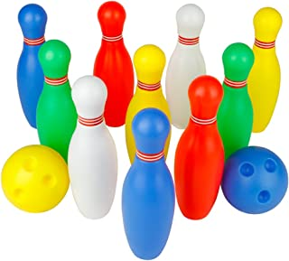 Bowling Pins Ball Toys Small Plastics Bowling Set Fun Indoor Family Games with 10 Mini Pins and 2 Balls, Educational Toy B...