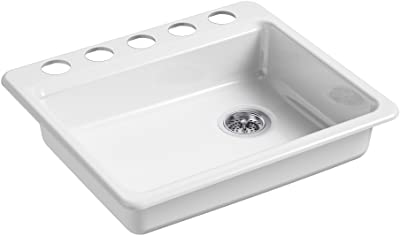 """KOHLER K-5479-5U-0 Riverby 25 In. x 22 In. x 5-7/8 In. Undermount Single-Bowl Kitchen Sink with 5 Oversized Faucet Holes, White, 25"""" x 22"""" x 5-7/8"""""""