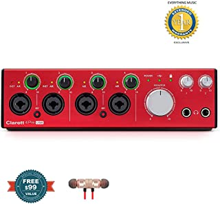 Focusrite Clarett 4Pre USB 18-In/8-Out Audio Interfaceincludes Free Wireless Earbuds - Stereo Bluetooth In-ear and 1 Year Everything Music Extended Warranty