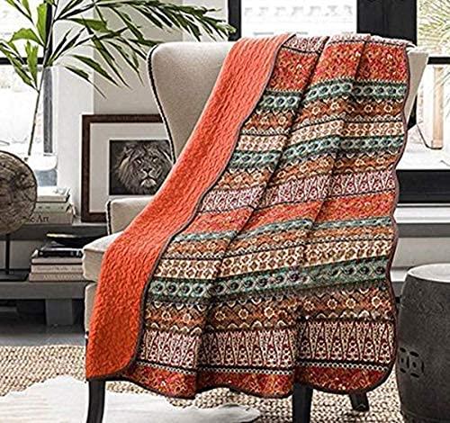 WEDF Mantas Acolchadas, 100% algodón, Reversible, Estilo Bohemio, Colcha, Colcha, Ligera, Estampada, para sofá, sillón (230 250 cm, Naranja)