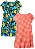 Spotted Zebra Girls' Kids Knit Short-Sleeve T-Shirt Dresses, 2-Pack Leopard Print, X-Small