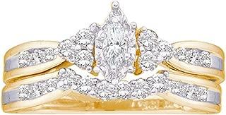 14k Yellow Gold Marquise Diamond Bridal Wedding Engagement Ring Band Set (1/2 Cttw)