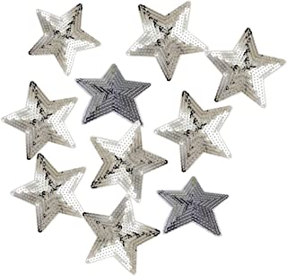 Ximkee Pack of 10 Shiny 5 Star Sequins Sew Iron on Applique Embroidered Patches-Silver