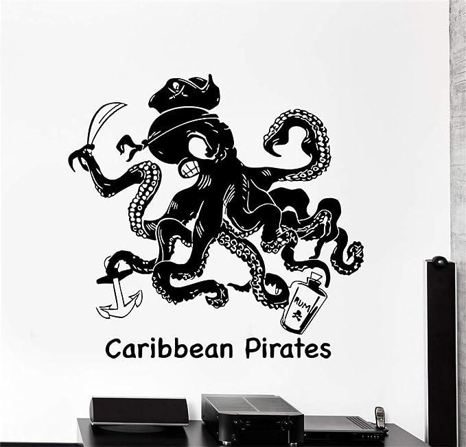 pegatinas de pared 3d infantil Pulpo pirata con ancla de ...