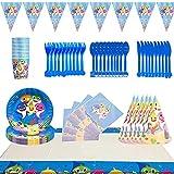 Ksopsdey Conjunto de Suministros de Fiesta de Tiburón,78Pcs Suministros Vajilla de Fiesta Set,Juego ...