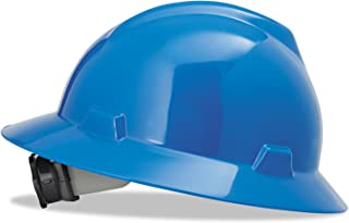 MSA (Mine Safety Appliances) 475368 MSA Blue V-Gard Polyethylene Slotted Full Brim Hard Hat with Fas Trac Ratchet Suspension, Plastic, 1