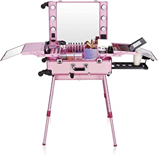 Ovonni LED Makeup Train Case, Lighted Rolling Travel Portable Cosmetic Organizer Box with Mirror & 4 Detachable Wheels, Professional Artist Trolley Studio Free Standing Workstation, Pink
