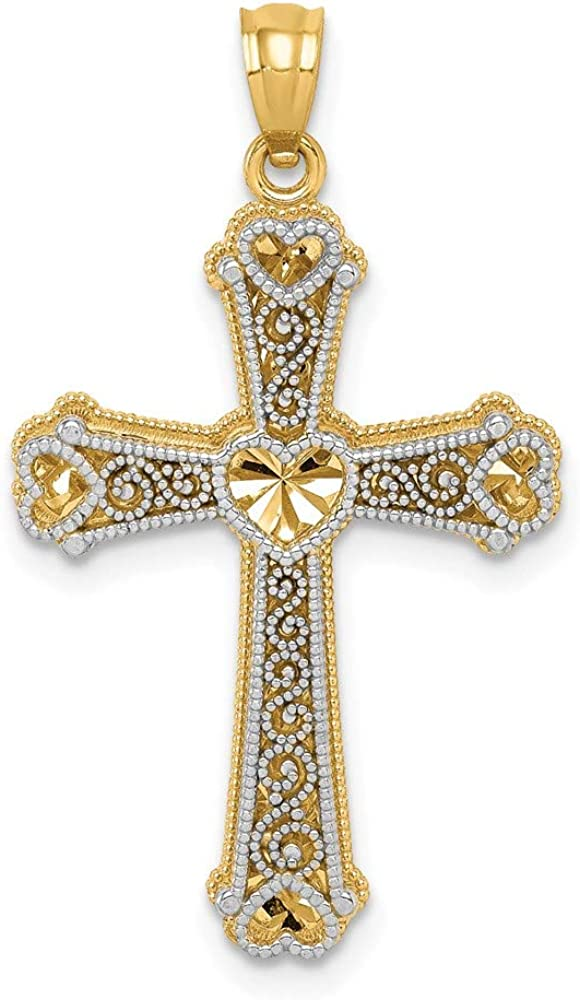 14k Max 73% OFF Two-tone Hearts Cross Classic Pendant 19mm style 33mm C3847