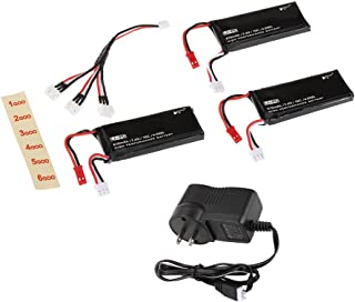 JIMI 3pcs H502S-002 7.4V 610mAh 15C Lipo Battery 2S with 3 in 1 Battery Charger for Hubsan X4 H502S H502E RC Quadcopter Parts