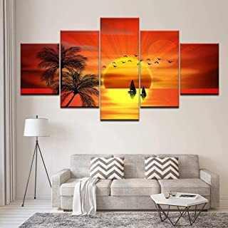 TYUIOP Canvas Painting 5 Pieces Canvas Print Picture Wall Art Decoration 5 Pieces Coconut Tree Bird Sailing Boat Beautiful...