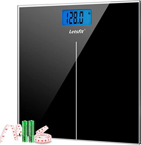 Letsfit Digital Body Weight Scale, Bathroom Scale with Large Backlit Display, Step-On Technology, High accuracy 0.1lb...