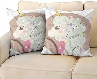 RuppertTextile Kawaii Customized Pillowcase Cartoon Unicorn Design Mane Protect The Waist W15 x L15
