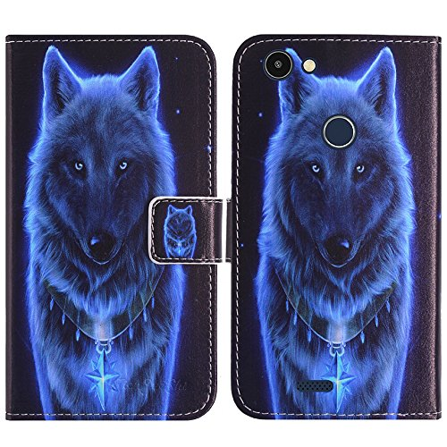 TienJueShi Wolf Flip Book-Style Brief Leder Tasche Schutz Hulle Handy Hülle Silikon Abdeckung Fall Wallet Cover Etui Skin Fur Archos 50f Helium Lite 5 inch