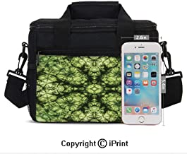 Weird Abstract Original Pattern with Fold Form Free Artisan Rattling Surreal Image Print Lunch Bag Portable Insulated Lunch Boxes with Zipper and Pocket,Green