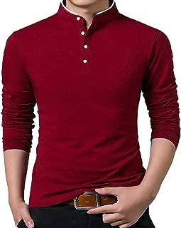 Men's Hipster Mandarin Collar Slim Fit Casual Long Sleeve Polo T Shirts