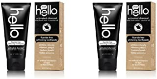 Hello Oral Care Activated Charcoal Fluoride Free Whitening Toothpaste, 4 Ounce - 2 Pack