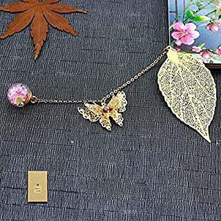 Metal Feather Leaf Bookmark,with 3D Butterfly Dried Flower Pink Pendant.Gift for Women,Teacher, Friends,Girls, Readers and...