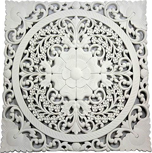 DONREGALOWEB - Mandala Tallado de Madera Calada Blanco 70x70 cm