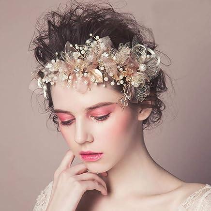 Flower Gold Leaf Hairpin Silk Yarn Flower Bride Headdress for Wedding Dresses,Crystal Cream Simulated Pearl Flower Leaf Hair Head Band lā Vestmon Romantic Wedding Headbands