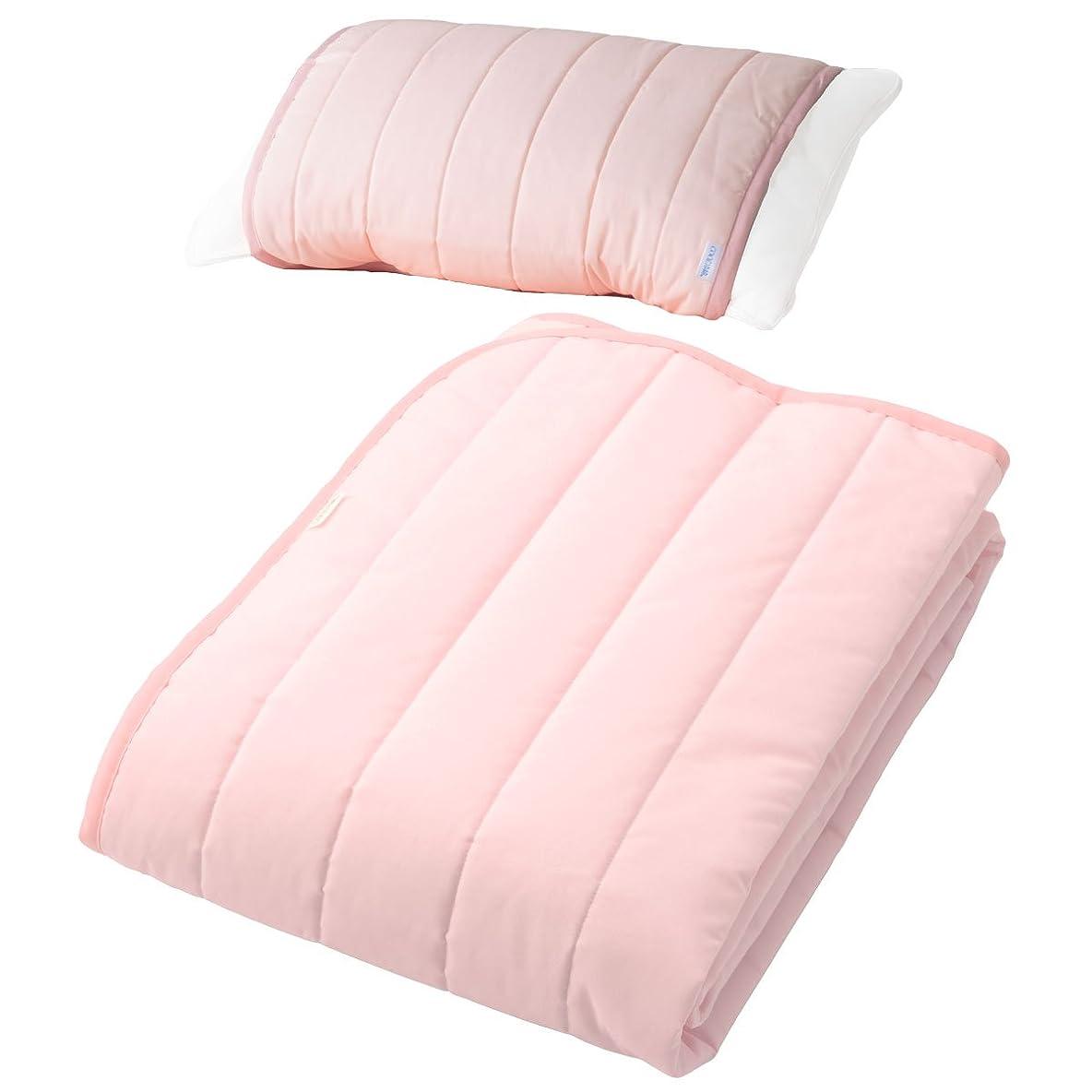 鯨コンピューター怠けた日本製 敷パッド (枕パッド付き) シングル クラボウCOOL冷綿 ピンク