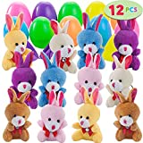 """12 PCs Filled Easter Eggs with Plush Bunny, 2.25"""" Bright Colorful Easter Eggs Prefilled with Variety 3.5"""" Plush Bunnies"""