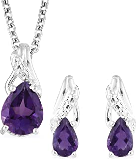 Amethyst 925 Sterling Silver Earrings and Chain Pendant Necklace Gift Set 1.5 Cttw Size 20