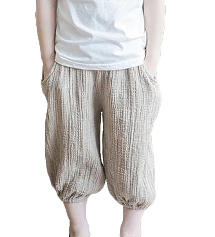 [エージョン] ボーイズ パンツ 夏 子供服 無地 リネン サルエルパンツ ゆったり 七分丈 カジュアル モスキートパンツ ファッション カーキ120
